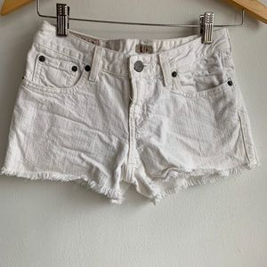 Polo by Ralph Lauren distressed white jean shorts